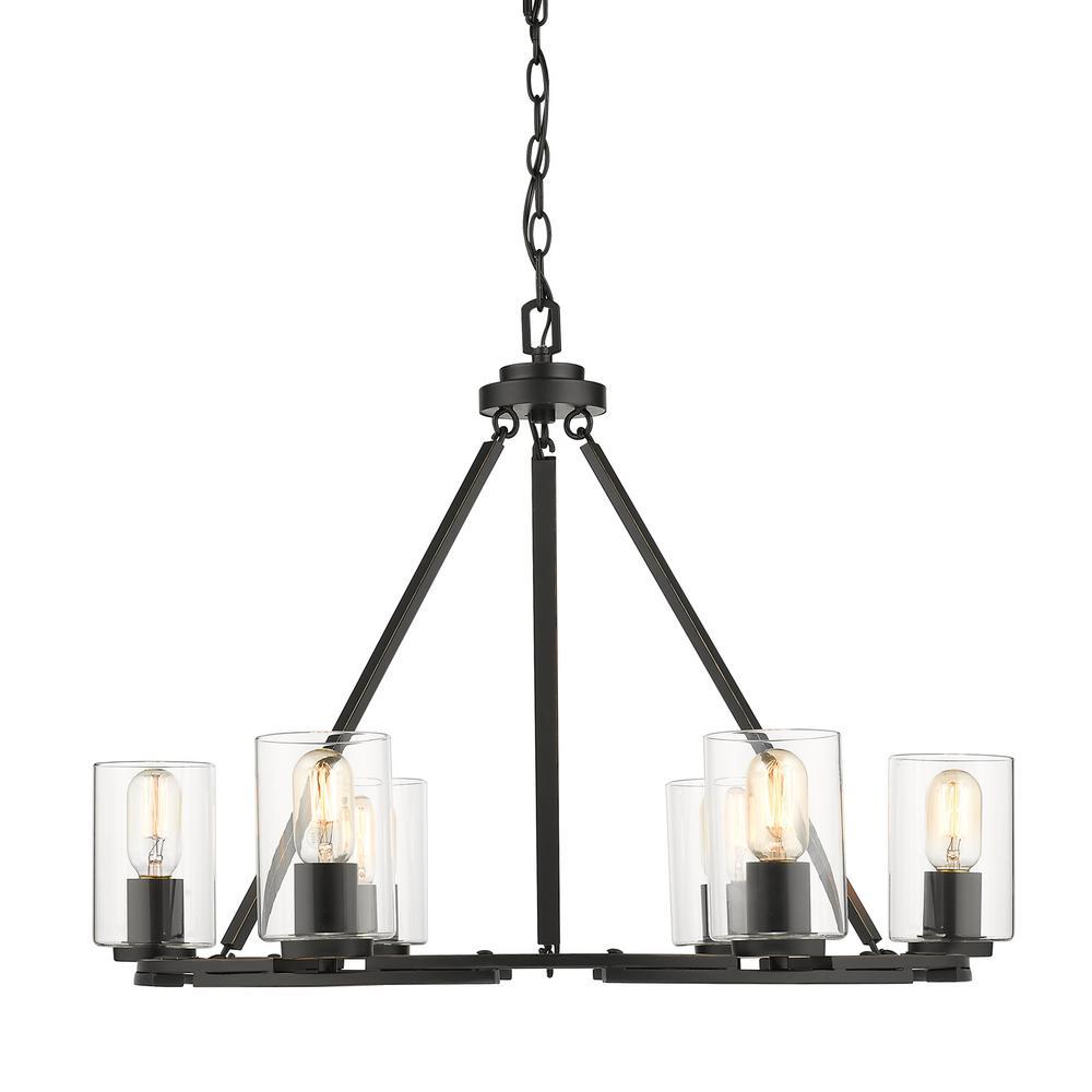 Golden Lighting Monroe 6 Light Black with Clear Glass Chandelier