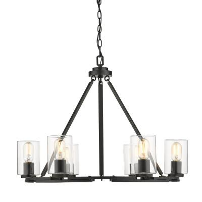 Monroe 6 Light Black with Clear Glass Chandelier