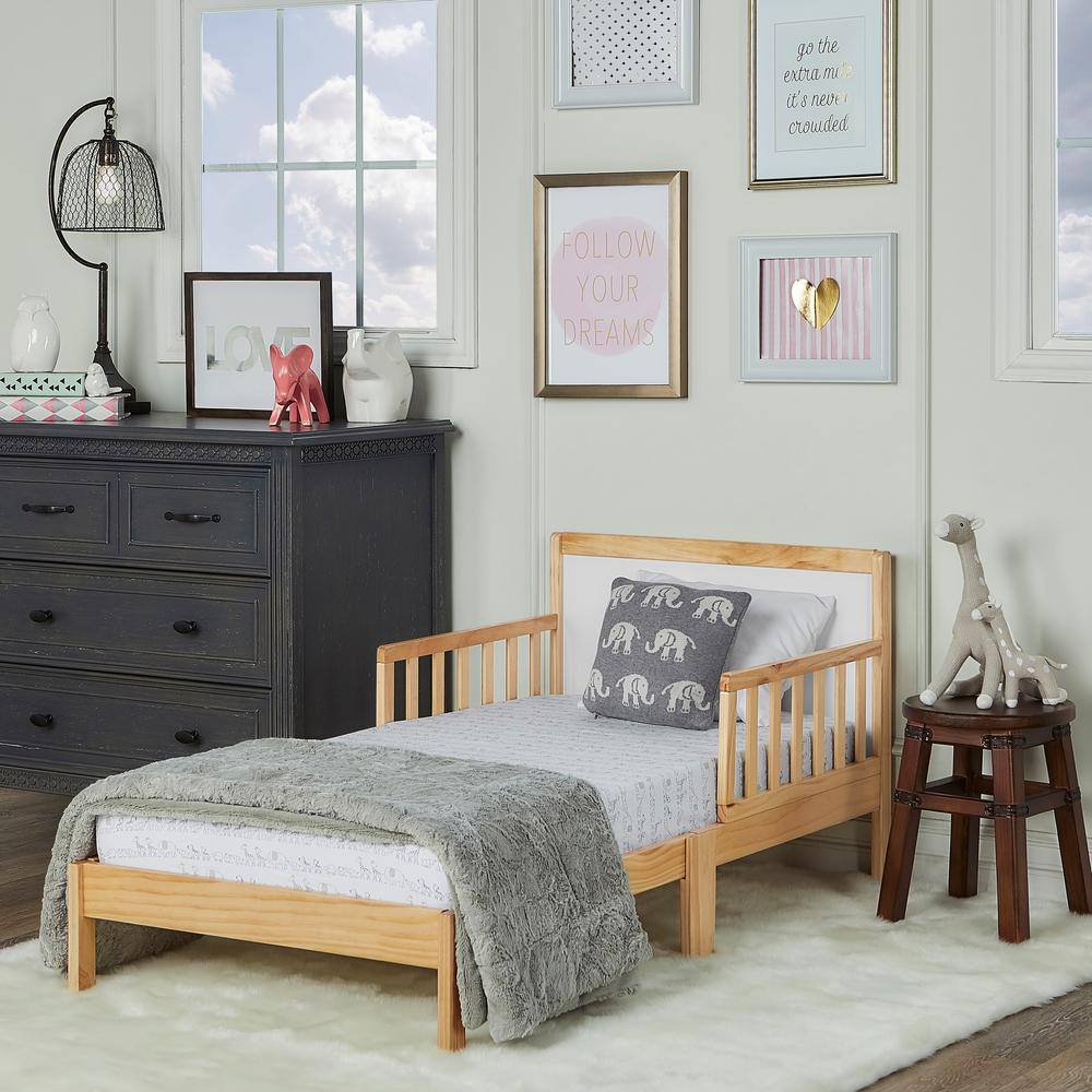 Dream On Me Brookside Natural And White Toddler Adjule Bed 648 Nw The Home Depot