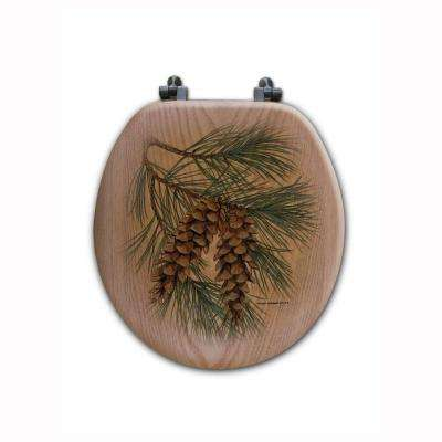Pine Cone Round Closed Front Wood Toilet Seat in Oak Brown