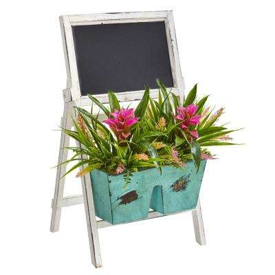 26 in. Indoor Bromeliad and Grass Artificial Plant in Farmhouse Stand with Chalkboard