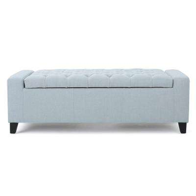 Hikaru Tufted Light Sky Blue Fabric Storage Bench