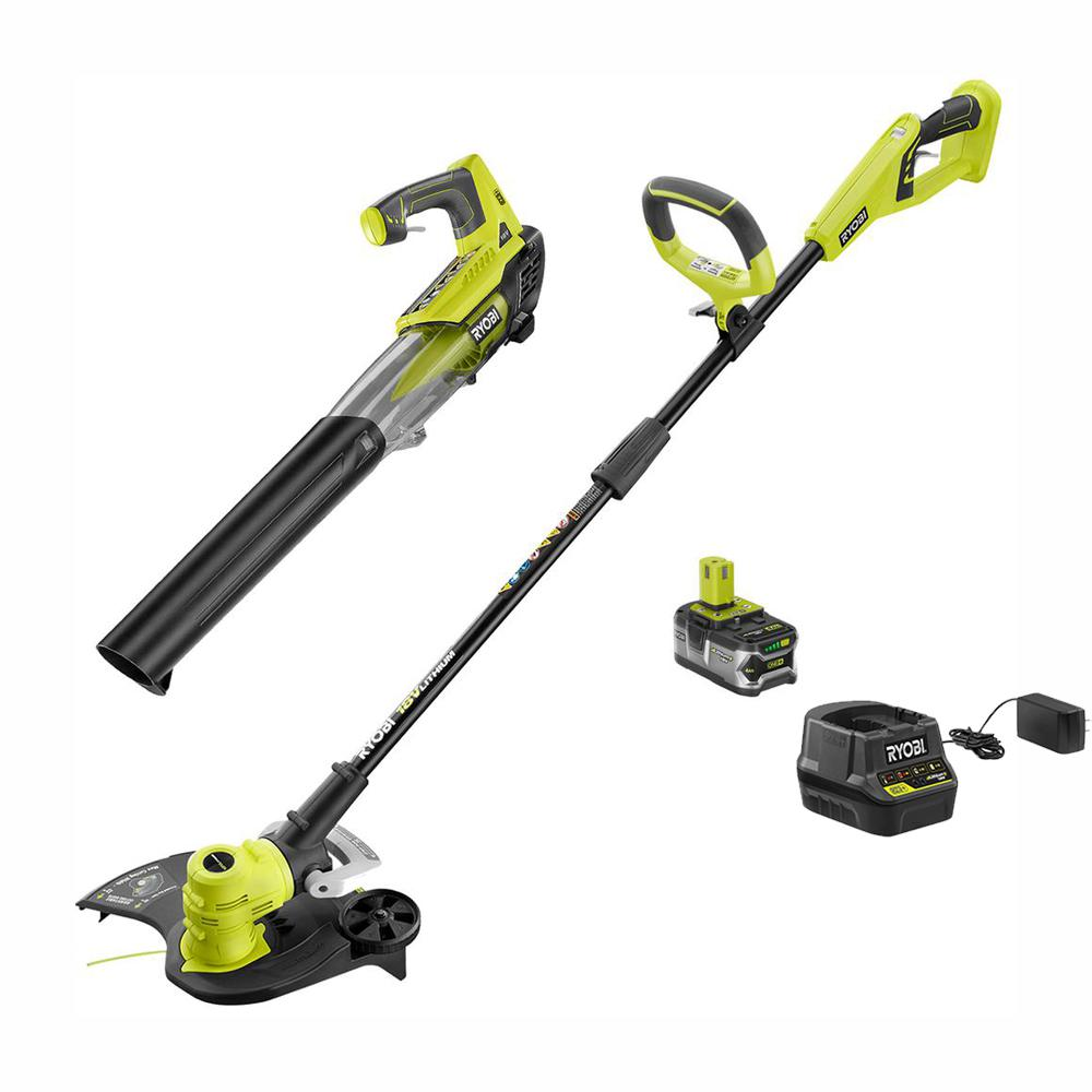 RYOBI ONE+ 18-Volt Lithium-Ion Cordless String Trimmer and Jet Fan Blower Combo Kit - 4.0 Ah Battery and Charger Included