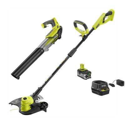 ONE+ 18-Volt Lithium-Ion Cordless String Trimmer and Jet Fan Blower Combo Kit - 4.0 Ah Battery and Charger Included