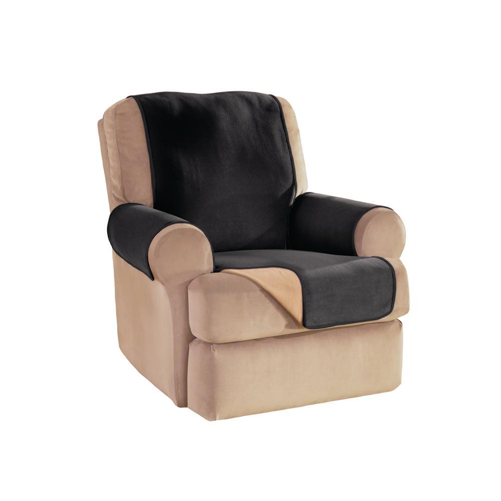 Black Reversible Waterproof Fleece Recliner/Wing Furniture Protector