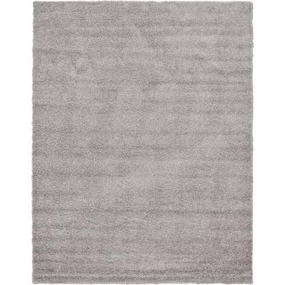 Solid Shag Cloud Gray 10 ft. x 13 ft. Area Rug