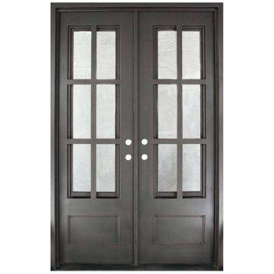 62 in. x 97.5 in. Craftsman Classic Clear 3/4 Lite Painted Oil Rubbed Bronze Wrought Iron Prehung Front Door