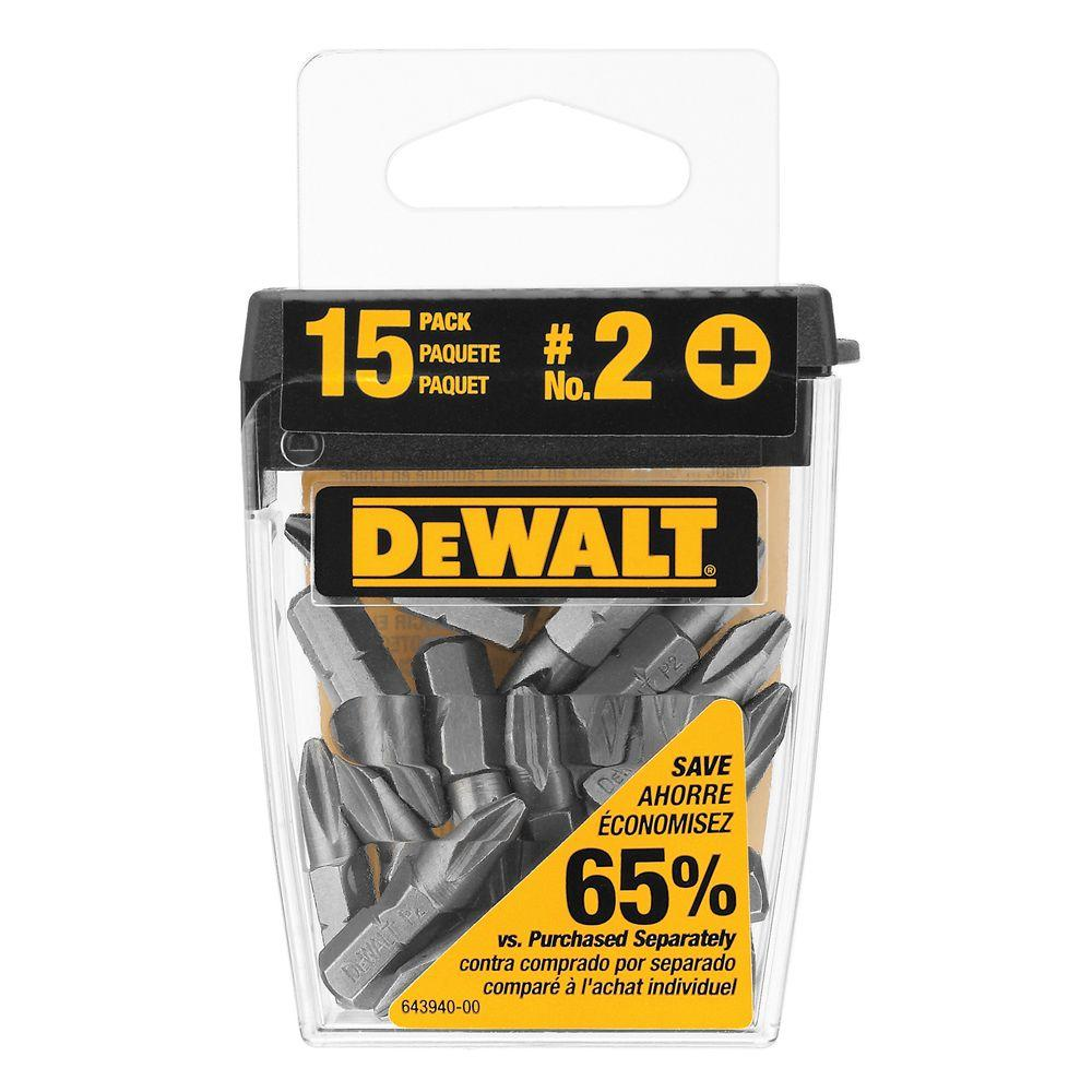 DEWALT #2 Philips High Speed Steel Head Bit Tips (15-Pack)
