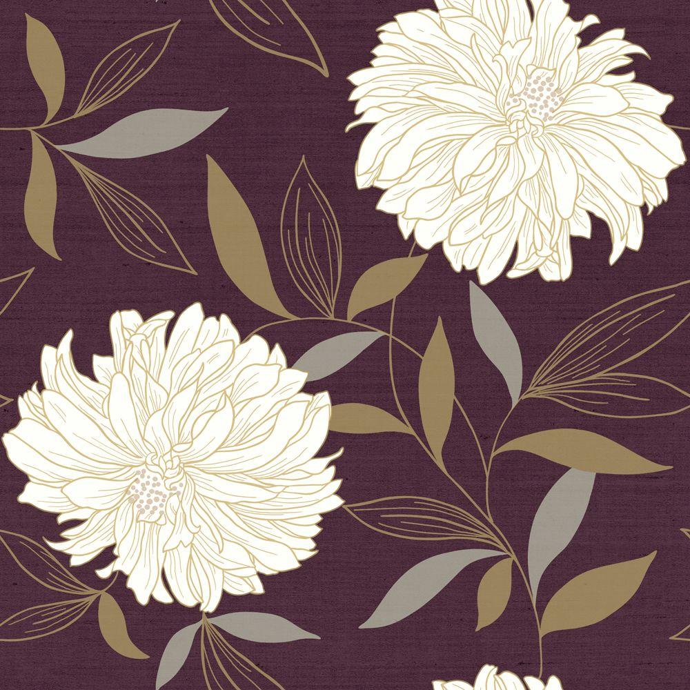 The Wallpaper Company 8 in. x 10 in. Peony Red Wallpaper Sample
