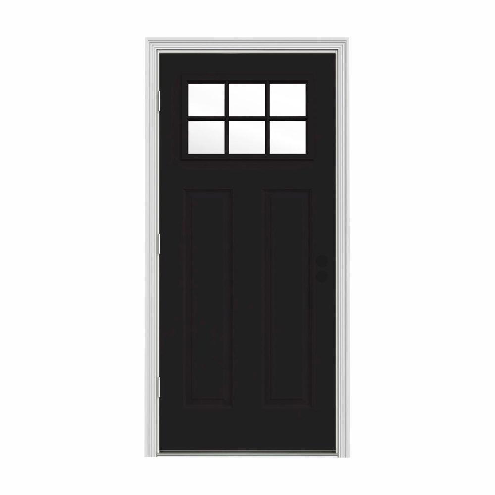 JELD-WEN 32 in. x 80 in. 6 Lite Craftsman Black Painted Steel Prehung Right-Hand Outswing Front Door w/Brickmould