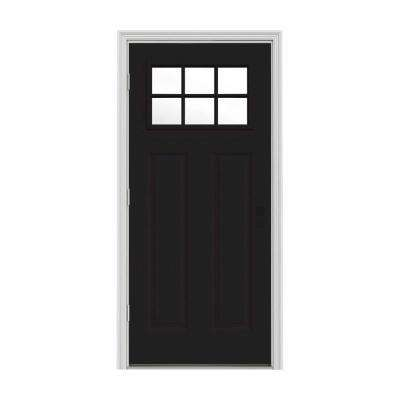 32 in. x 80 in. 6 Lite Craftsman Black Painted Steel Prehung Right-Hand Outswing Front Door w/Brickmould