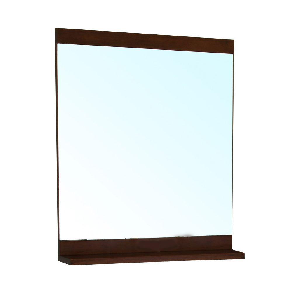 Cashel 37 in. L x 28 in. W Solid Wood Frame Wall Mirror in Medium Walnut