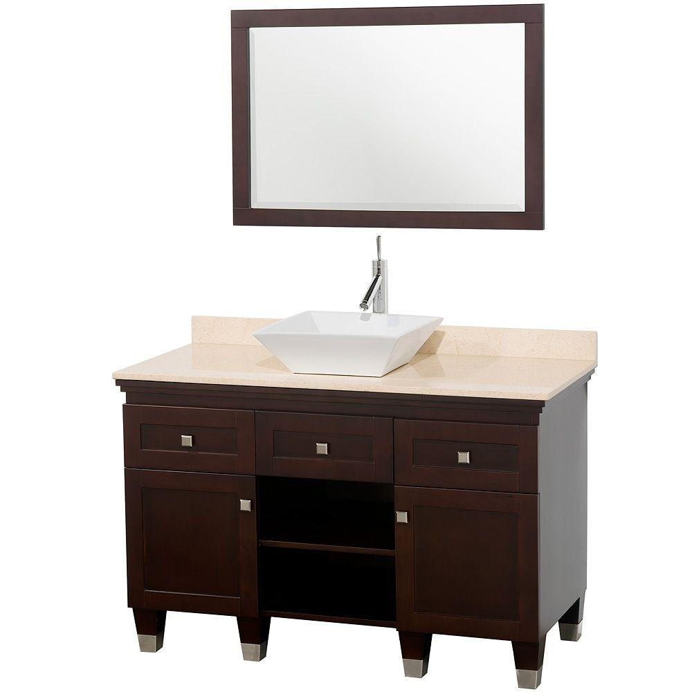 Wyndham Collection Premiere 48 in. Vanity in Espresso with Marble Vanity Top in Ivory with White Porcelain Sink and Mirror