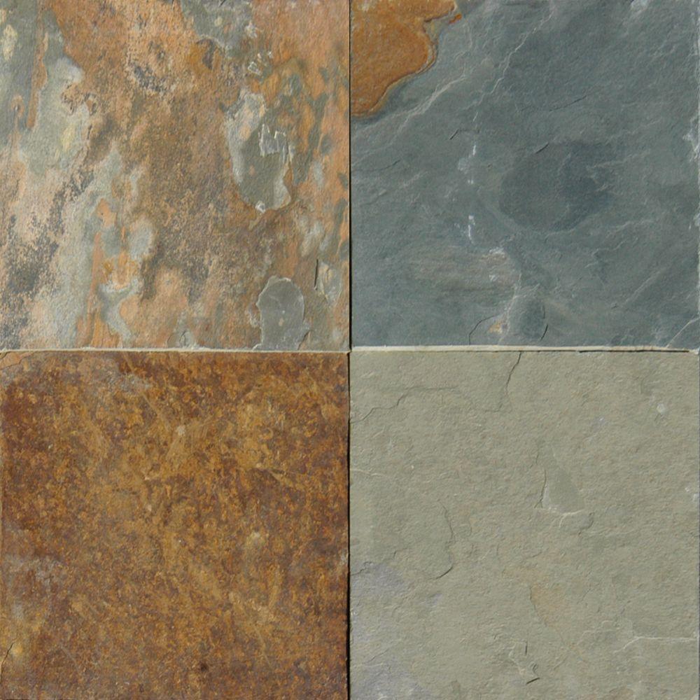 Natural slate tile flooring