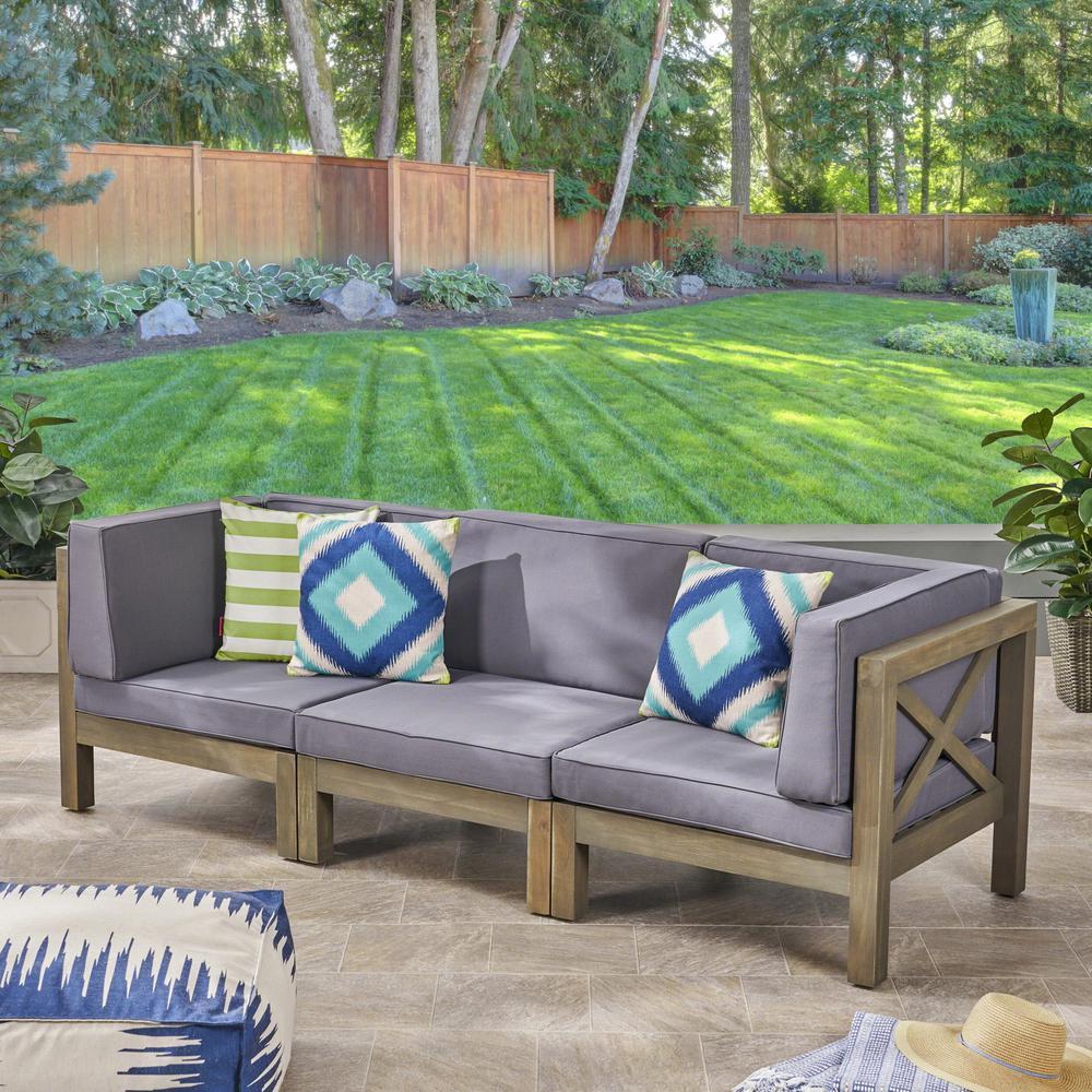 Hadlee Gray 3-Piece Wood Outdoor Sofa with Dark Gray Cushions