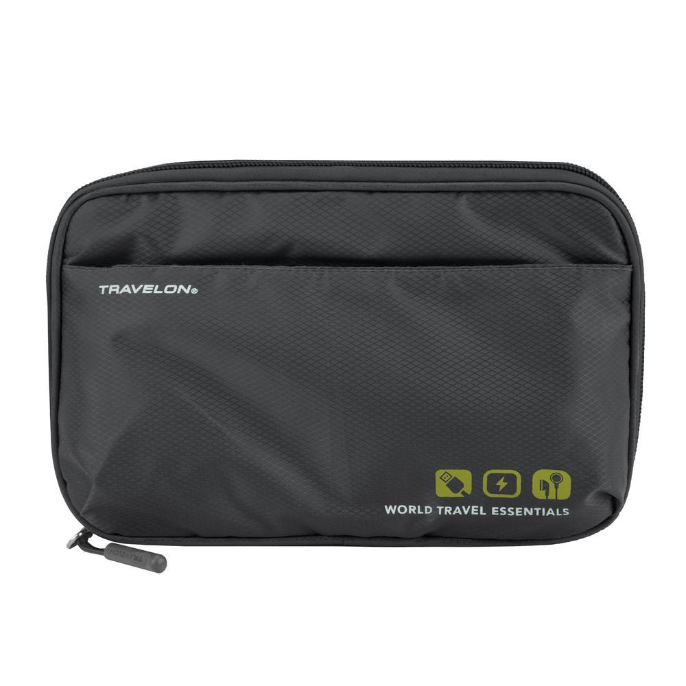 World Travel Essentials Graphite Gray Tech Accessory Organizer