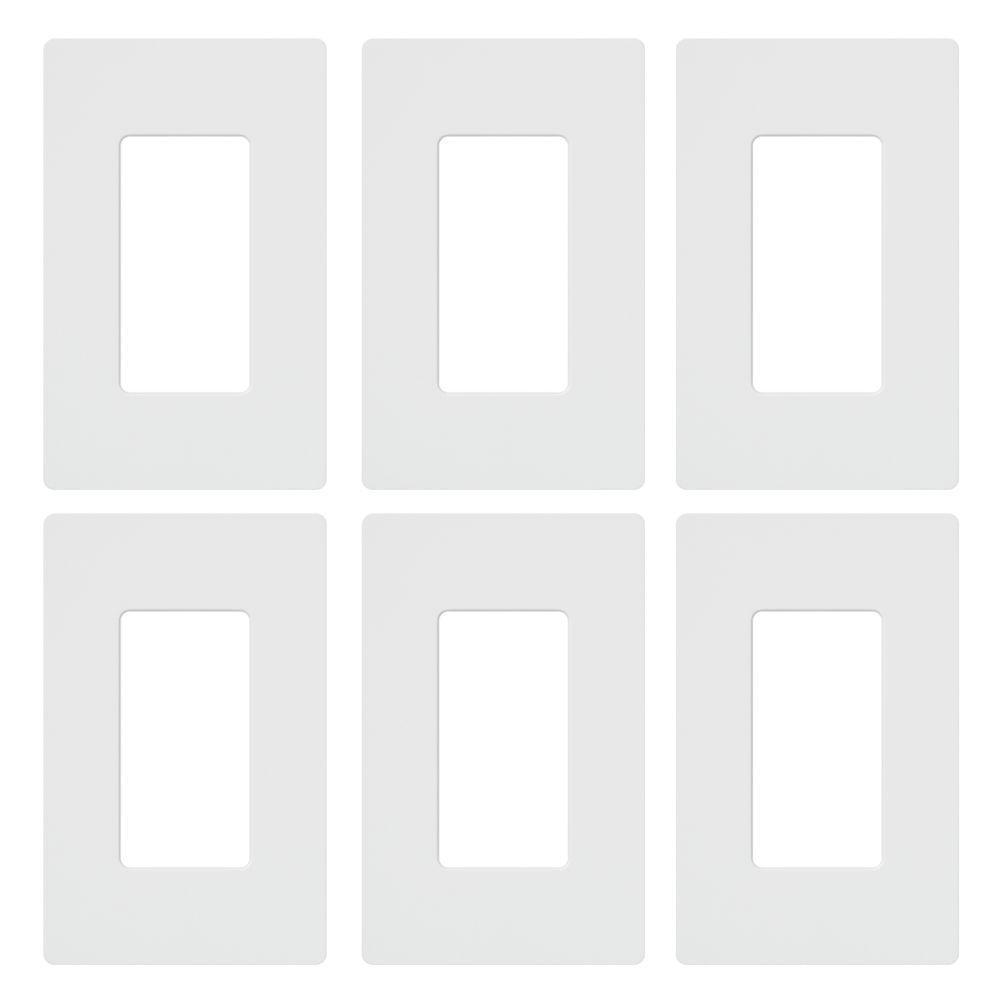 Claro 1 Gang Decorator/Rocker Duplex Wallplate, White (6-Pack)