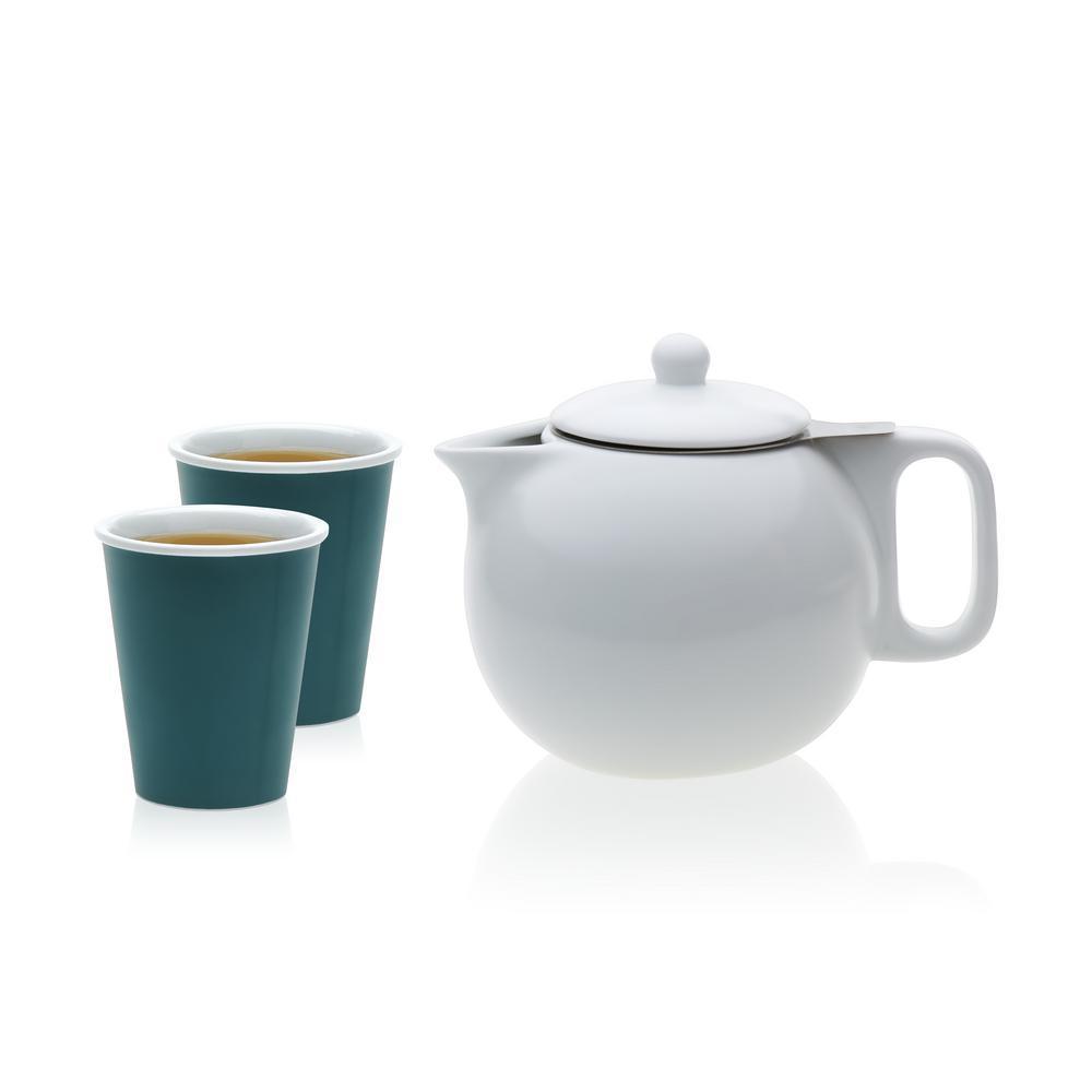 Jaimi 4.5-Cup 3-Piece Porcelain Teapot and Laura Cup Set