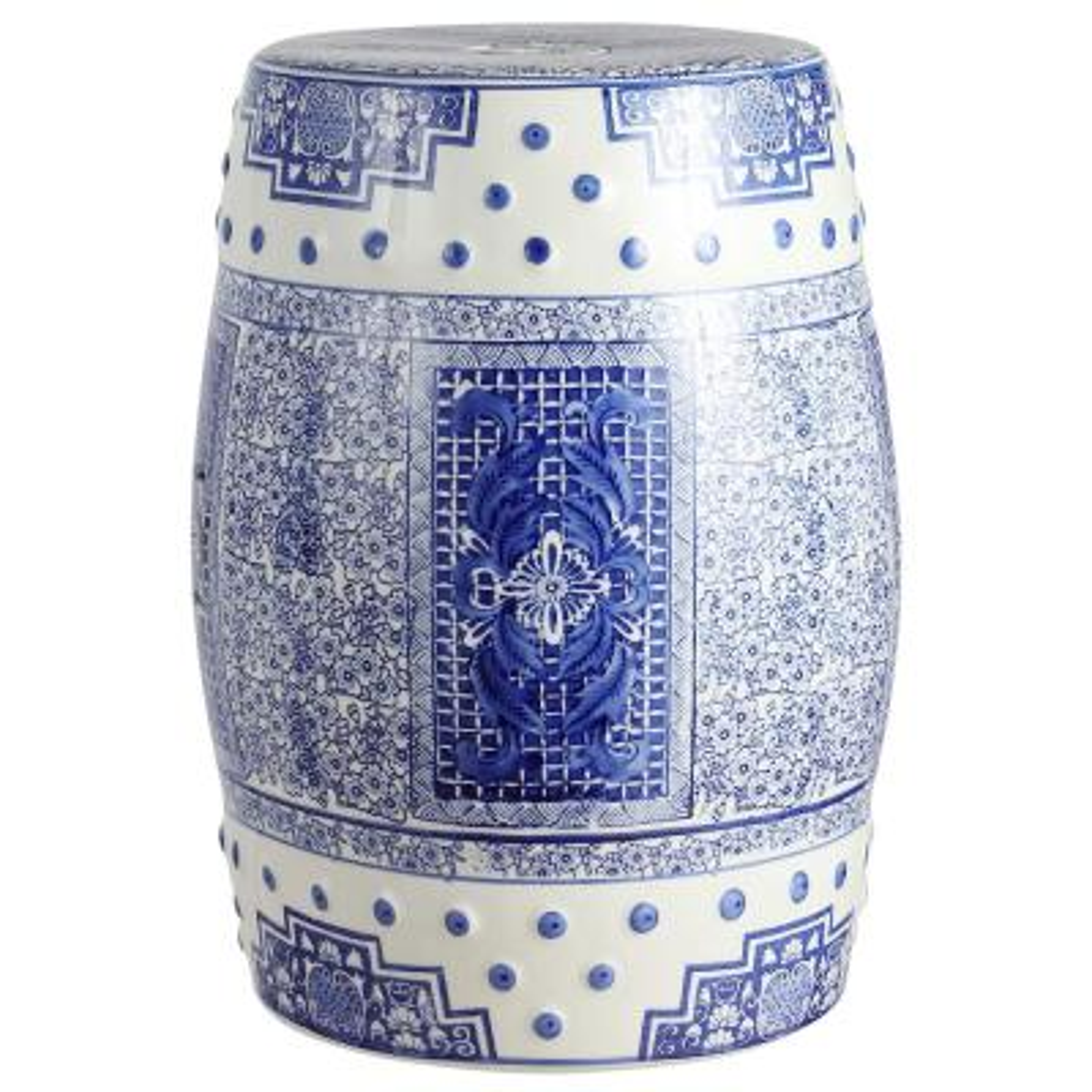 17.8 in. Blue/White Chinoiserie Acanthus Ceramic Drum Garden Stool