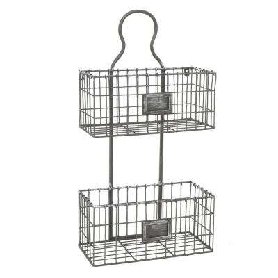 2-Tier Antique Silver Metal Rack