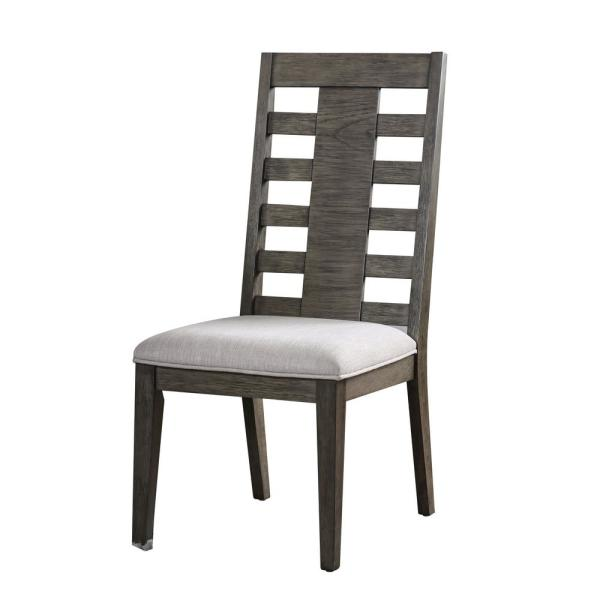 Furniture of America Jenna Gray Fabric Ladder Side Chair (Set of