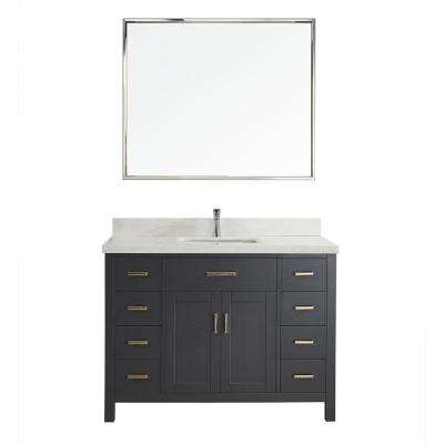 Kalize II 48 in. W x 22 in. D Vanity in Pepper Gray with Engineered Vanity Top in White with White Basin and Mirror