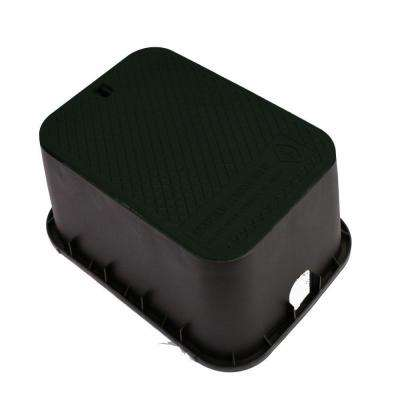 12 in. x 17 in. x 12 in. Deep Rectangular Valve Box in Black Body Black Lid