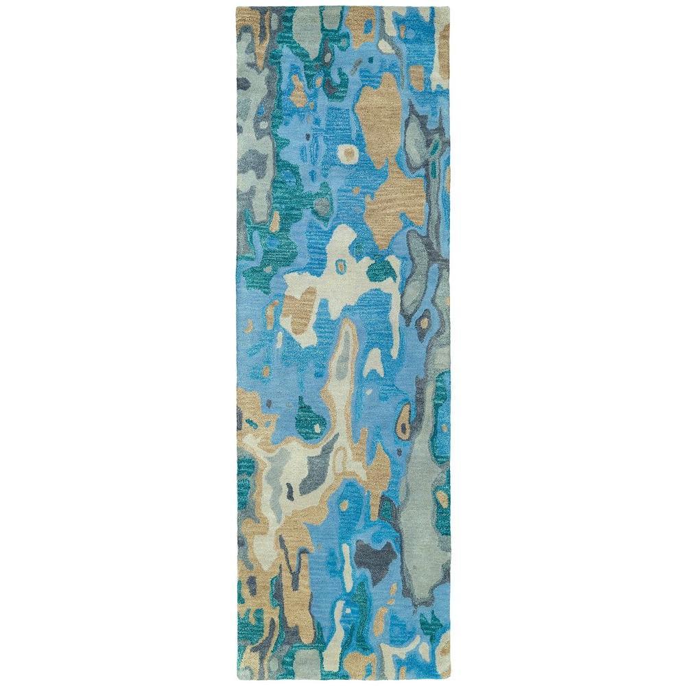 Kaleen Brushstrokes Blue 2 ft. 6 in. x 8 ft. Runner