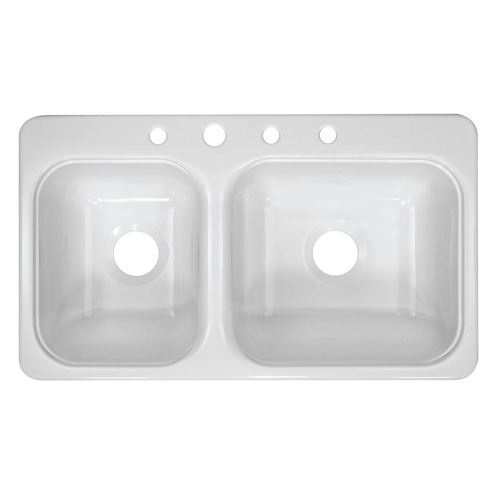 Lyons Industries Style C Dual Mount Acrylic 33x19x7.25 in. 4-Hole 40/60 Double Basin Kitchen Sink in White