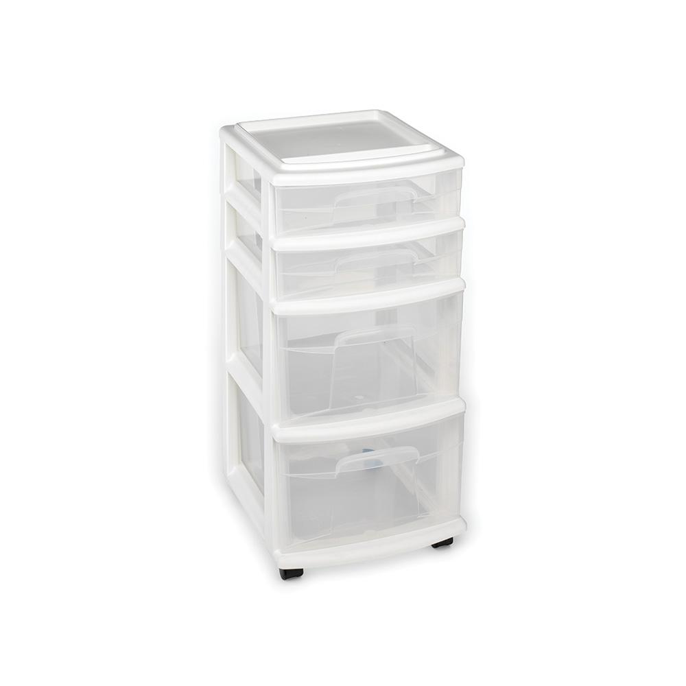 HOMZ 4 Drawer Medium Plastic Wheeled Cart In White