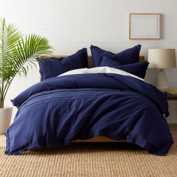 The Company Store Beachcomber Cotton Queen Duvet Cover in Navy 50375D-Q-NAVY