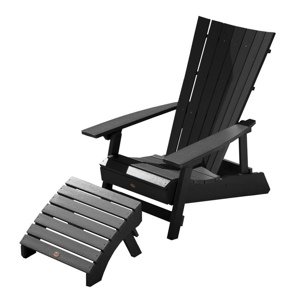 Manhattan Beach Black 2-Piece Recycled Plastic Outdoor Seating Set
