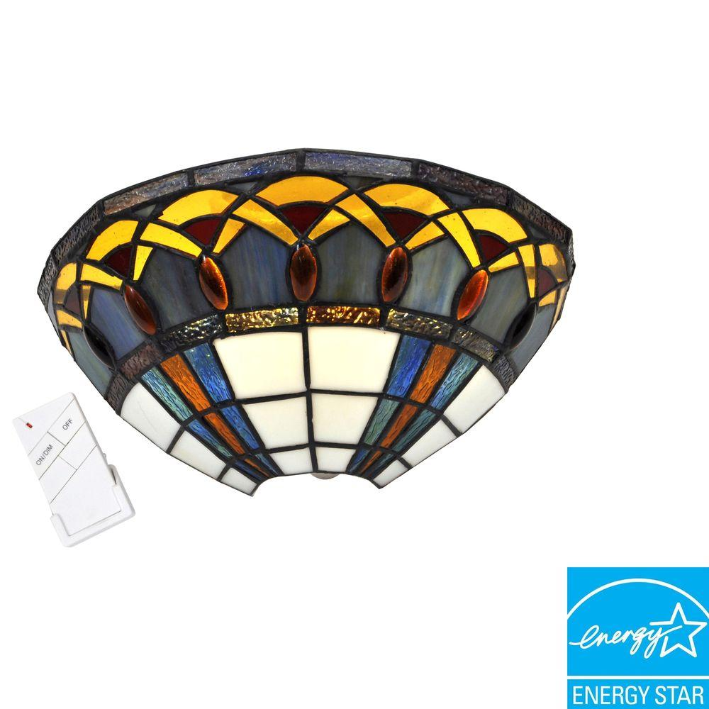 It's Exciting Lighting Wall Mount Stained Glass Half Moon with Jewels Battery Operated 7 LED Wall Sconce-DISCONTINUED