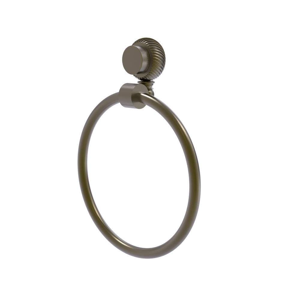 Venus Collection Towel Ring with Twist Accent in Antique Brass