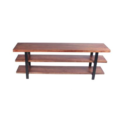 Brown and Black Mango Wood and Iron Console Table with 3-Shelves