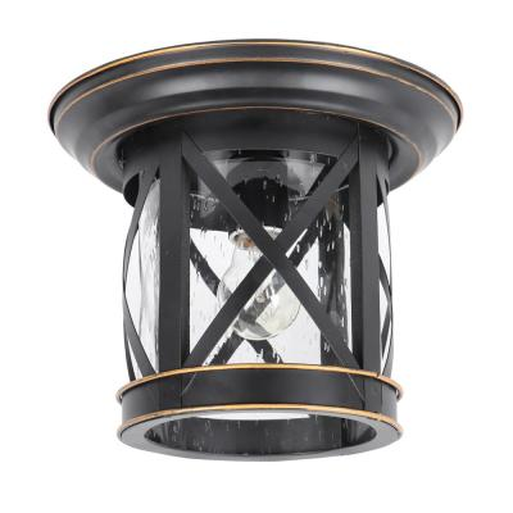 Imperial Black 1 Light Outdoor Ceiling Mounted Flush Mount Light