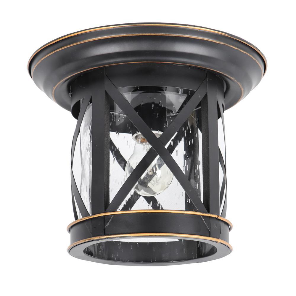 y decor imperial black 1 light outdoor ceiling mounted flush mount light el5041ib the home depot. Black Bedroom Furniture Sets. Home Design Ideas