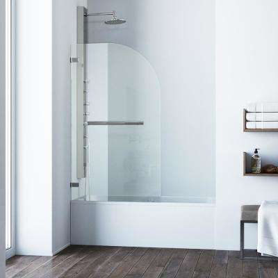 Orion 34 in. x 58 in. Frameless Curved Pivot Tub/Shower Door in Stainless Steel Hardware with 5/16 in. Clear Glass