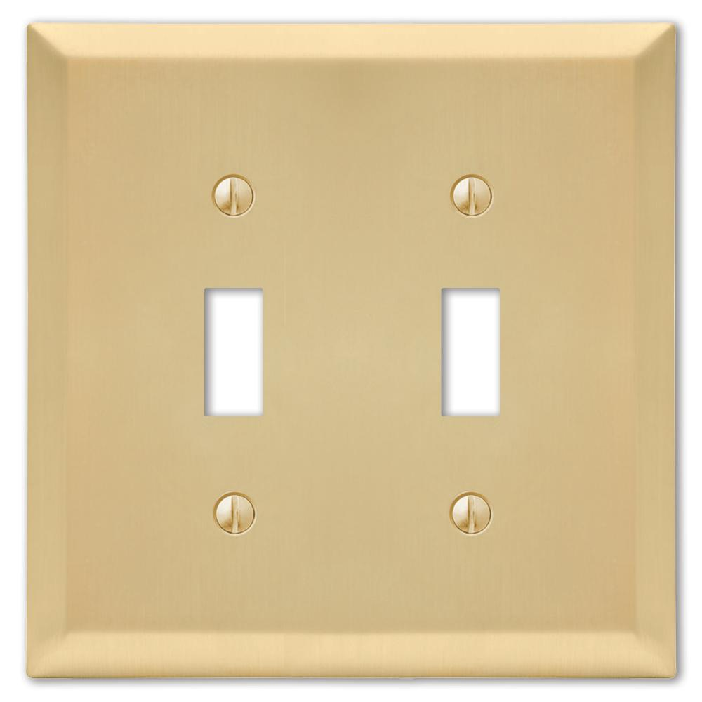 Amerelle Brass 2 Gang Toggle Wall Plate 1 Pack 163ttsb