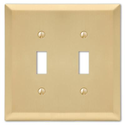 Metallic 2 Gang Toggle Steel Wall Plate - Satin Brass