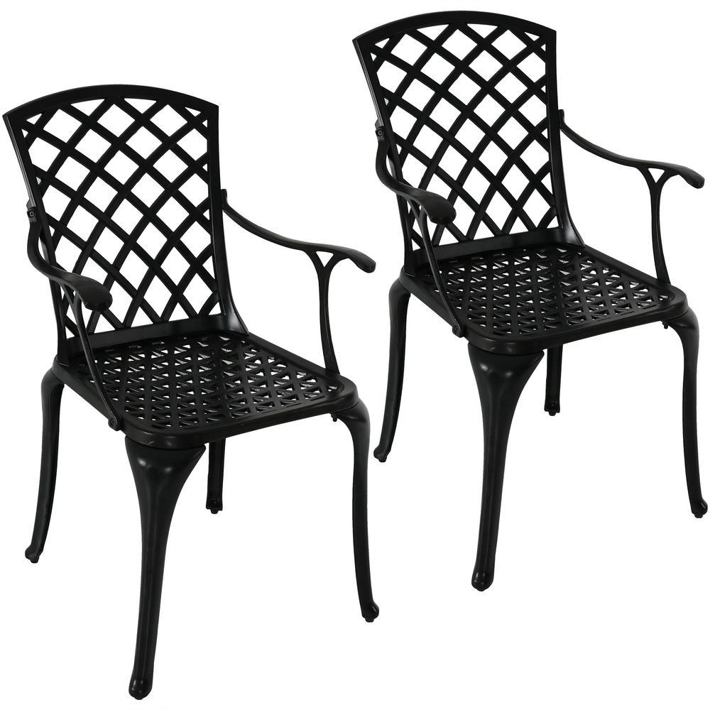 Crossweave Black Cast Aluminum Patio Dining Chair Set (2-Piece)