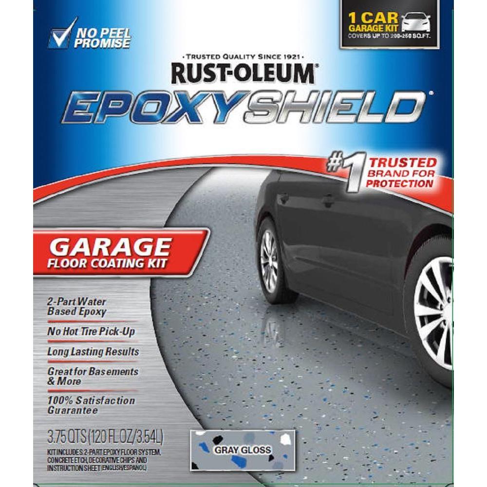 Rust oleum rocksolid 152 oz gray polycuramine 2 5 car for Single car garage kit