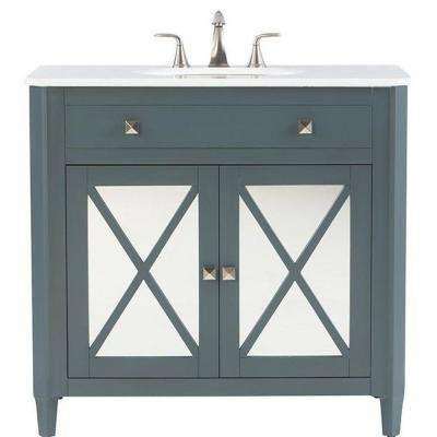 Barcelona 37 in. Vanity in Teal Blue with Marble Vanity Top in China White and Under-Mount Sink
