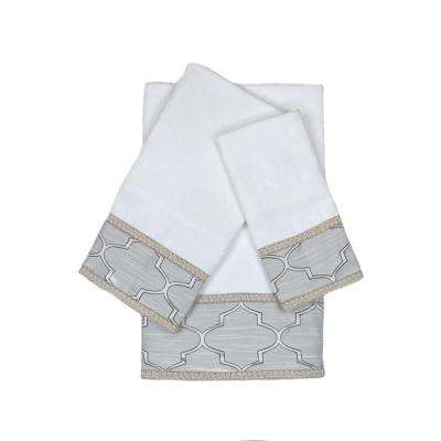 Stanton Gimp White Decorative Embellished Towel Set (3-Piece)