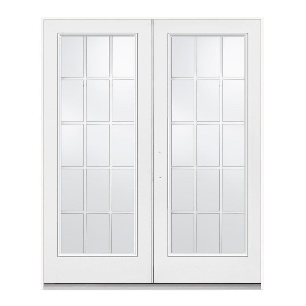 jeld wen 72 in x 80 in primed white right hand inswing low e tempered 15 lite fiberglass. Black Bedroom Furniture Sets. Home Design Ideas