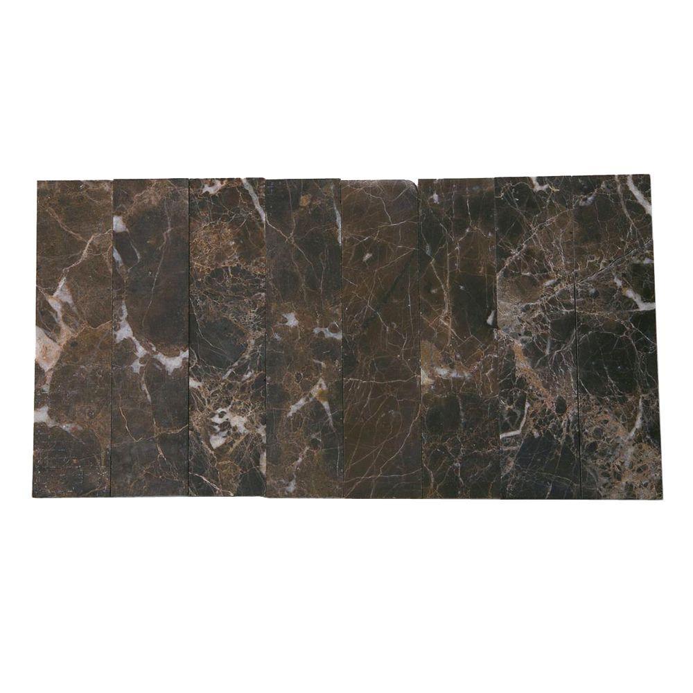 Splashback Tile Brushed Dark Emperador 2 In X 8 Mm Marble