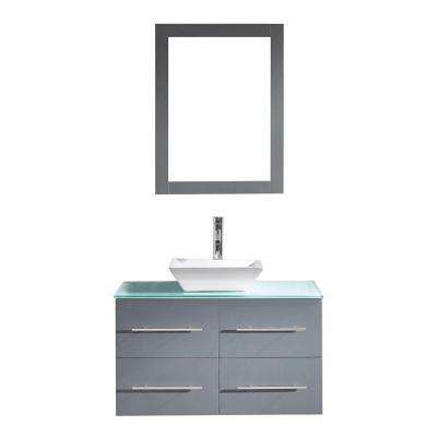 Marsala 36 in. W Bath Vanity in Gray with Glass Vanity Top in Aqua with Square Basin and Mirror and Faucet