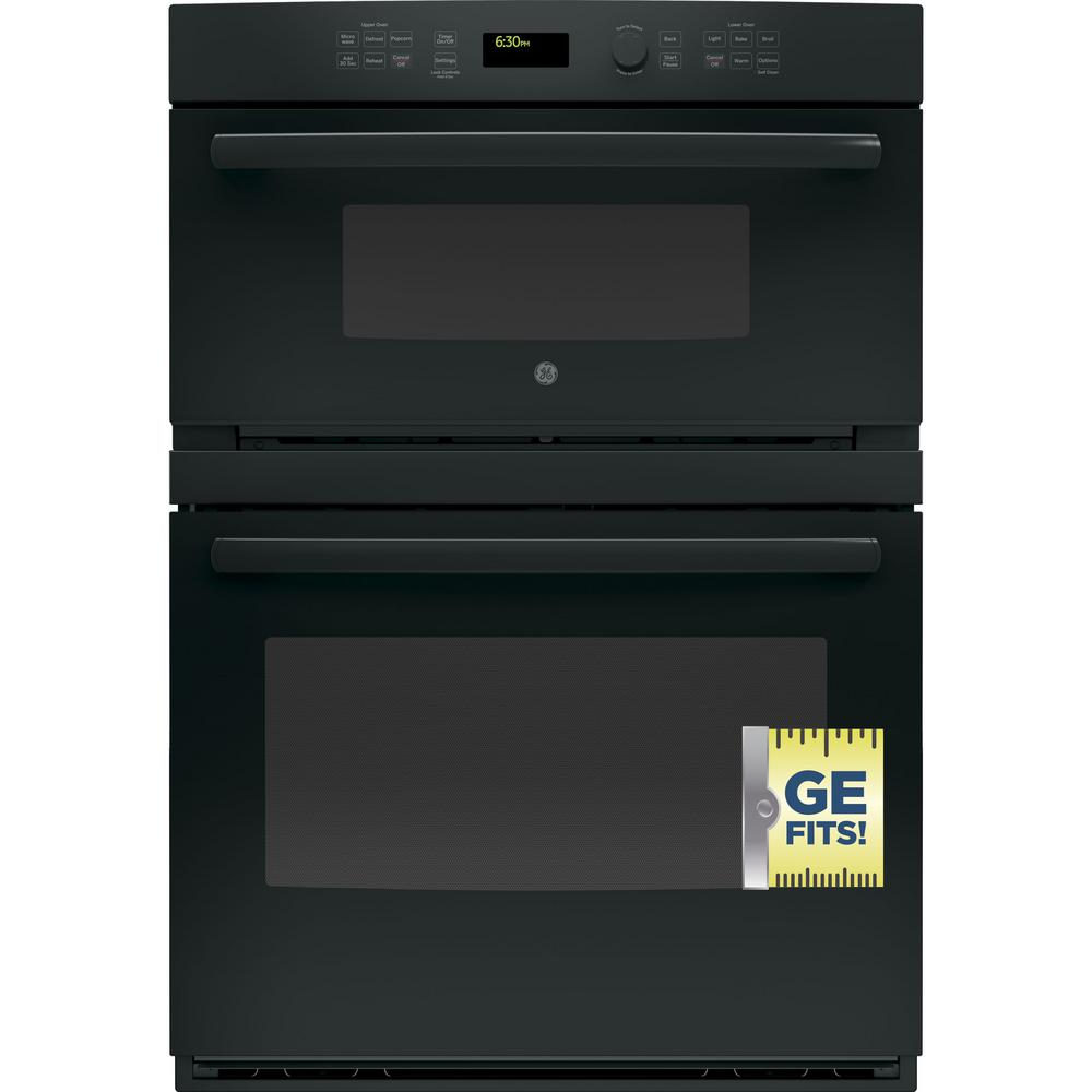 Ge 30 In Double Electric Wall Oven With Built Microwave Black