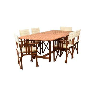 Rio 7-Piece Wood Rectangular Outdoor Dining Set