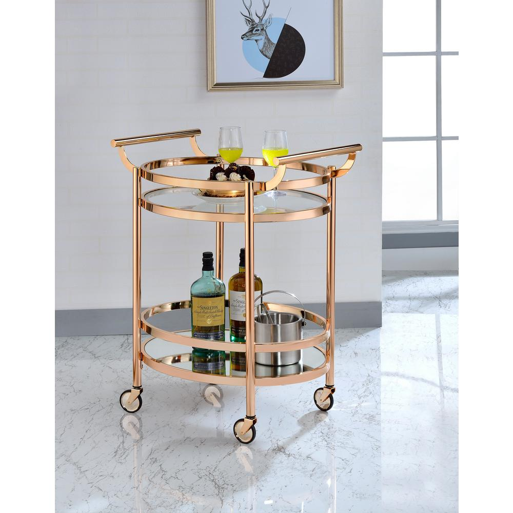 acme furniture lakelyn clear glass and rose gold serving cart - Rose Gold Bar Cart